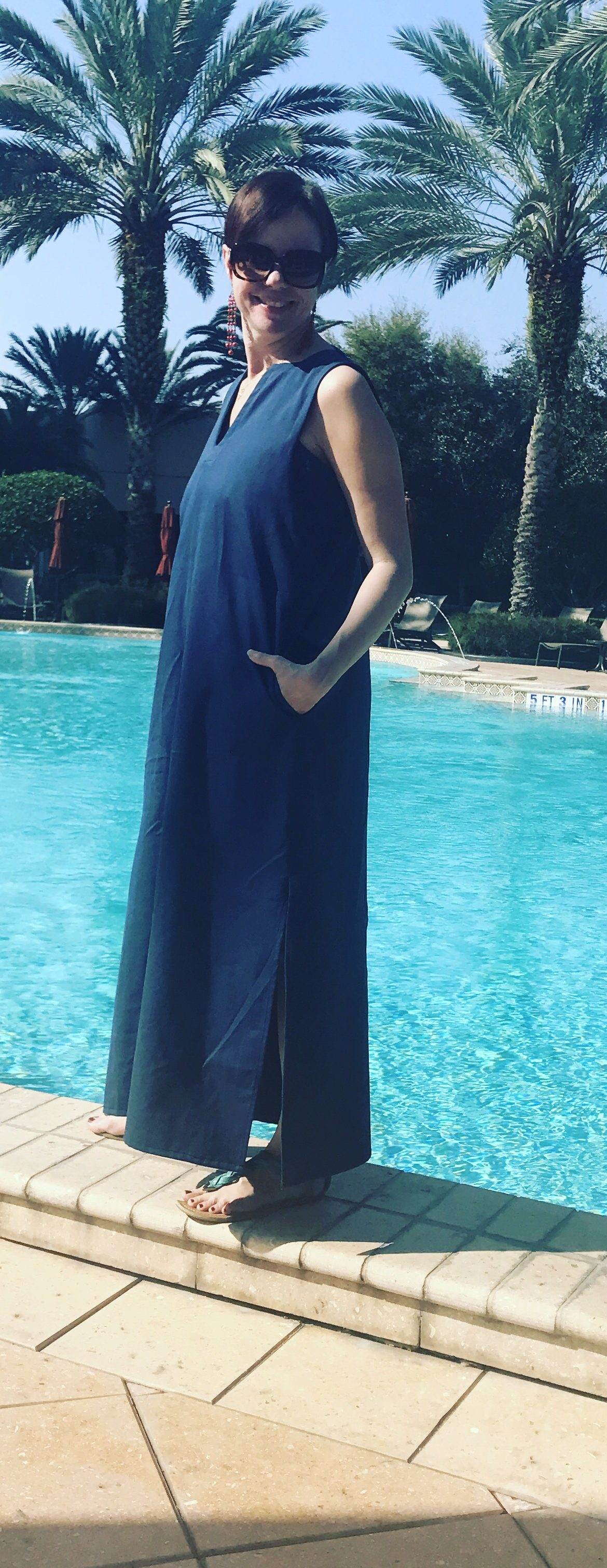Ann Normandy Maxi Dress Ann Siegle Sew Paradise Marriott Renaissance Seaworld Pool Dress shot