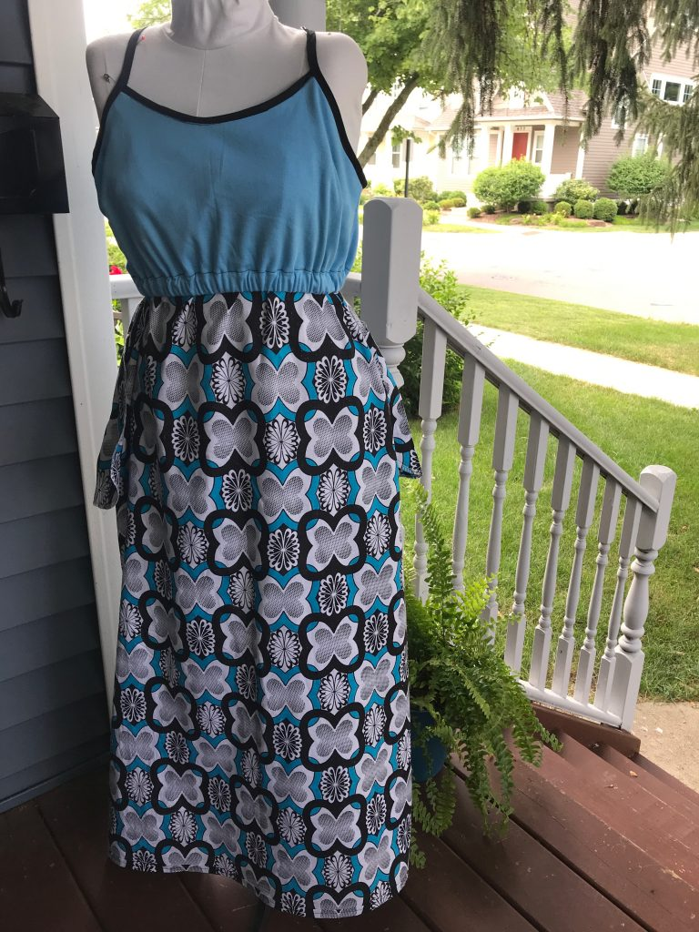 Adding a shelf bra to a maxi dress sewing pattern hack